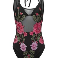 Rosemary Black Mesh and Floral Embroidery Swimsuit