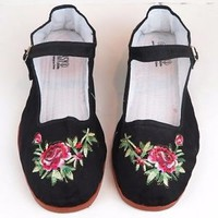 Women's Chinese Mary Jane Floral Cotton Shoes Slippers Black - Sizes 5-12 New