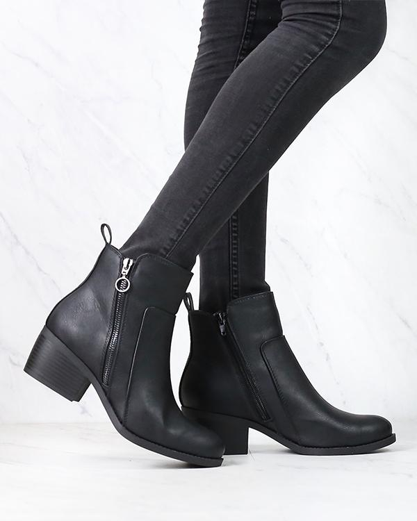 Image of Kelly Faux Leather Zipper Ankle Booties in More Colors