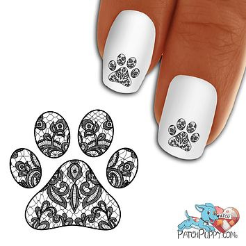 Lace Black Pawprint Nail Art Decals (Now! 50% more FREE)