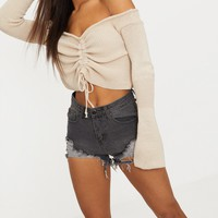 Stone Ruched Knit Extreme Sleeve Crop Jumper