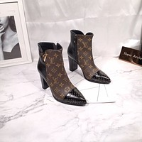lv louis vuitton trending womens men black leather side zip lace up ankle boots shoes high boots 1