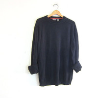 vintage black sweater. oversized slouchy pullover sweater. cotton sweater size large tall