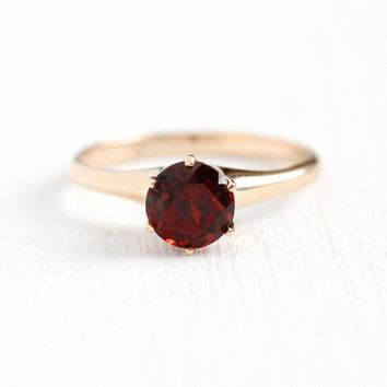 Vintage Garnet Ring - 10k Rosy Yellow Gold Dark Red 1.42 Carat Raised Gemstone Solitare - Size 6 1/2 Ripley-Howland Co Fine Jewelry