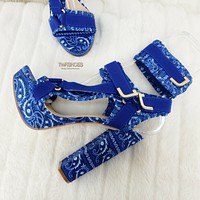 "Blue Bandanna  5.5"" Chunky High Heel Harness Strap Shoe US Sizes 7-11 Bandana"