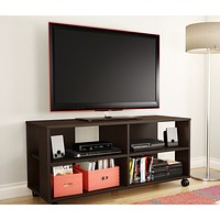 Contemporary TV Stand Cart with Casters in Chocolate Finish