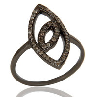 Oxidized Sterling Silver and Diamond Studded Ring Designer Jewelry