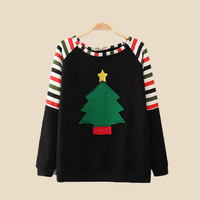 Black Christmas Tree Striped Raglan Sweatshirt