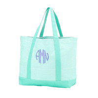 Personalized Pinstripe Tote Bag