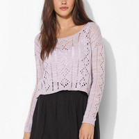 Pins And Needles Diamond Pointelle Cropped Sweater - Urban Outfitters