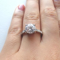 Cubic Zirconia Diamond Ring - 2ct Solitaire - Rose Gold and Silver