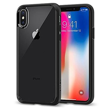 Spigen Ultra Hybrid iPhone X Case with Air Cushion Technology and Clear Hybrid Drop Protection for Apple iPhone X (2017) - Matte Black