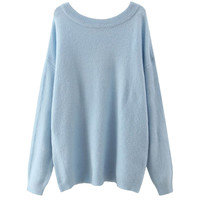 Simple Ribbed Hem Pullover Sweater