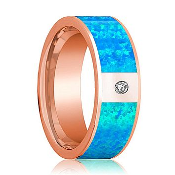 Flat Polished 14k Rose Gold Men's Wedding Band with Blue Opal Inlay and Diamond in Center - 8MM