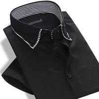 Summer Men's Short-sleeve Double Layer Collar Dress Shirts Business Casual Slim Fit Solid Color Cotton Shirt Men