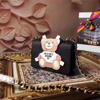 MOSCHINO WOMEN'S TEDDY BEAR LEATHER CHAIN SHOULDER BAG