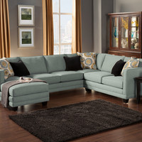 A.M.B. Furniture & Design :: Living room furniture :: Sofas and Sets :: Sectional Sofas :: 3 pc Oasis collection Teal color fabric upholstered sectional sofa with square arms and chaise