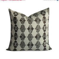 """50% OFF SALE Ogee - Parson Gray Pillow Cover -  20""""x20"""" - Brown and Cream Throw Pillow - Same Fabric BOTH Sides - Invisible Zipper"""