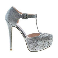 Kinko8 By De Blossom, Dress Pointed Toe T-Strap Rhinestone Studded Stiletto Heel Sandal