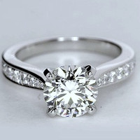 1.25ct F-SI1 GIA certified Platinum Round Diamond Engagement Ring JEWELFORME BLUE