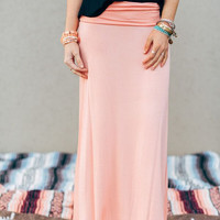 Solid Maxi Skirt - Peach