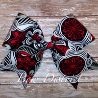 """3"""" Red, Black, White, and Gray Floral Cheer Bow"""