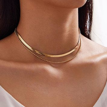 Snake Chain Chain Choker Neckalce for Women Gold Color Alloy Metal Adjustable Party Jewelry Accessories