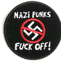 Nazi Punks Fuck Off Skins Sew On Embroidered Patch