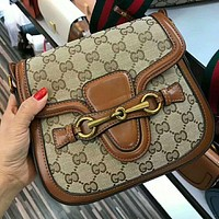 Gucci Popular Women Shopping Leather Crossbody Satchel Shoulder Bag Brown