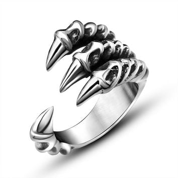Domineering sharp dragon claw ring opening character Metrosexual titanium Planted SA804
