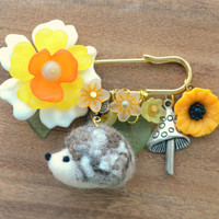 Hedgehog jewelry, needle felted hedgehog pin, woodland animal brooch, handmade woodland theme jewelry, whimsical accessories, gift under 20