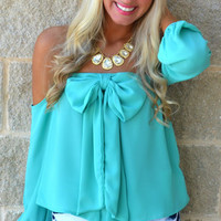 Morning Mimosas Off-Shoulder Bow Top · Haute Pink