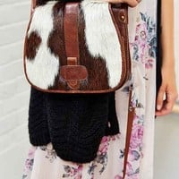 Ecote Calf Hair Saddle Bag- Brown One