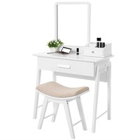 White Vanity Set With Square Mirror And Drawer