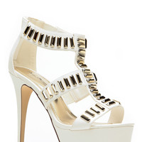 Anne Michelle All The Gold White Caged Heels