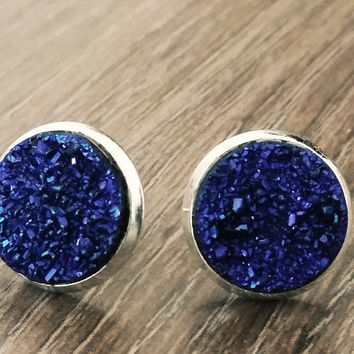 Druzy earrings- Metallic blue silver tone stud druzy earrings