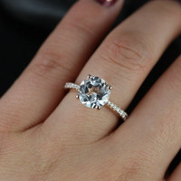 B.Taylor Original Size 14kt Rose Gold Round White Topaz and Diamond Cathedral Engagement Ring (Other metals and stone options available)