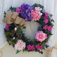 Purple Wreath, Beautiful Purple & Pink Wreath, Lilac Pink Hydrangea Decor, Special Occasion Gift, Gifts for her, Anniversary Gift