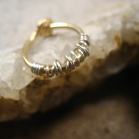 Hoop Earring Gold with Silver Tangled Single