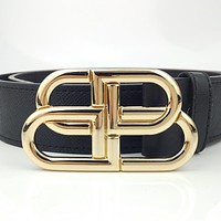 Balenciaga Gold Lock Double B Letter Smooth Buckle Belt