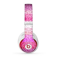 The Hot Pink Striped Cheetah Print Skin for the Beats by Dre Studio (2013+ Version) Headphones
