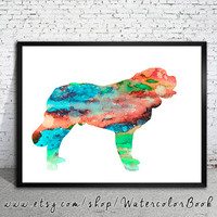 Saint Bernard 3 Watercolor Print, Saint Bernard watercolor, Home Decor, dog watercolor, watercolor painting, animal watercolor, dog painting