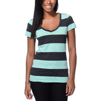 Zine Girls Beta Ice Green & Charcoal Stripe Slub Tee Shirt at Zumiez : PDP