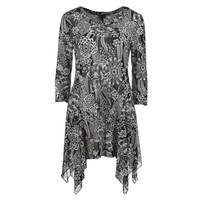 Sheer Illusions Sharkbite Tunic-Black and White Floral