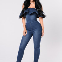 Feeling Lucky Jumpsuit - Dark Wash