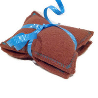 Fleece Hand Warmers - Brown and Blue - Rice Filled - Pocket Sized - Set of Two