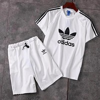 ADIDAS 2019 new men and women models simple wild sports suit two-piece white