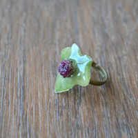 FREE SHIPPING - Natural ivy leaf ring - ivy - ring with real plants - botanical ring - nature inspied ring - real plants jewelry -r0012