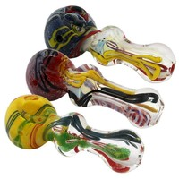 "4"" Frit Drizzled Glass Hand Pipe"