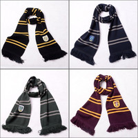 Harry Potter Gryffindor Slytherin Hufflepuff Ravenclaw Warm Knitted Stripe Scarf Cosplay Accessory = 1958155652